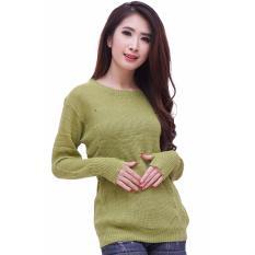 Quincy Label Erica Sweater Round Hand Rajut Wanita - Avocado ijo