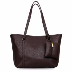 Quincy Label Eve Tote Bag Bonus Tas Kecil - Dark Brown