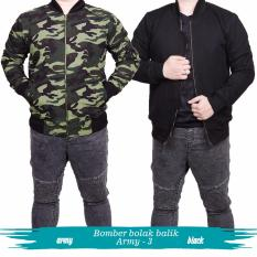 Jual Quincy Label Jacket Bomber Bolak Balik Army Black Branded