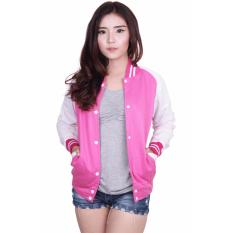 Beli Quincy Label Jacket Varsity Women White Pink Terbaru