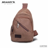 Promo Quincy Label Kanvas Journey Man Sling Bag 9252 Coffee Murah