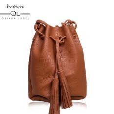 Dimana Beli Quincy Label Mayo Tassel Bucket Women Bag Brown Quincylabel