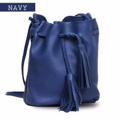 Quincy Label Mayo Tassel Bucket Women Bag - Navy