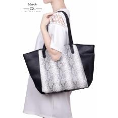 Tote Bag Import - Belle Snake Skin With Pu Leather - Hitam by Quincy Label