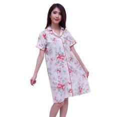 Quincy - Veronika Baju Tidur Dress / Pajamas Motif Bunga - White