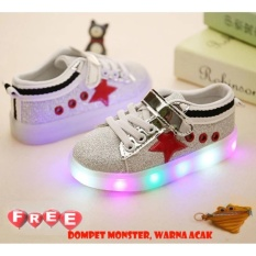 Quincybaby Sepatu Anak Keren Star Glitter Dengan Lampu LED - Red (Free Pouch Monster)