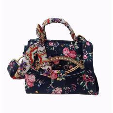 Quincybaby -Tas Bahu Crossbody Shoulder Scarf Bag Clutch Selempang Wanita Kanvas S309 - Black