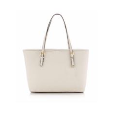 Toko Quincylabel Kors Saffiano Tote Bag New Rice White Online Terpercaya