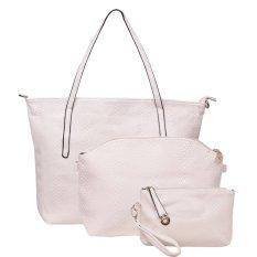 Spesifikasi Quincylabel New Croco Tote Bag 3 In 1 Rice White Murah
