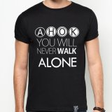 Jual Quincylabel Print T Shirt Ahok You Will Never Walk Alone A 147 Black Di Bawah Harga