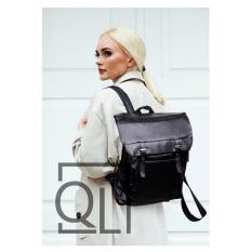Jual Quincylabel Woman Korean Leather Backpack Black Online Indonesia