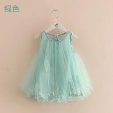 Jual Beli Qz 4025 Baru Gadis Anak Anak Tanpa Lengan Rok Gaun Hijau Di Tiongkok