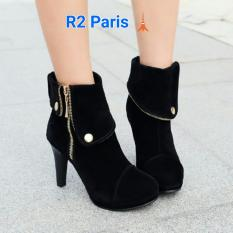 Jual R2 High Heels Boots Sheran Hitam Branded Murah