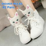 Diskon R2 Paris Sepatu Sneakers Wedges Cat Miau Putih Akhir Tahun