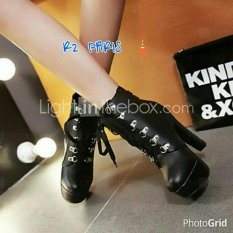 R2Paris High Heels Boots Larson Hitam