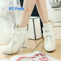 Beli R2Paris High Heels Boots Ribbon Martha Putih