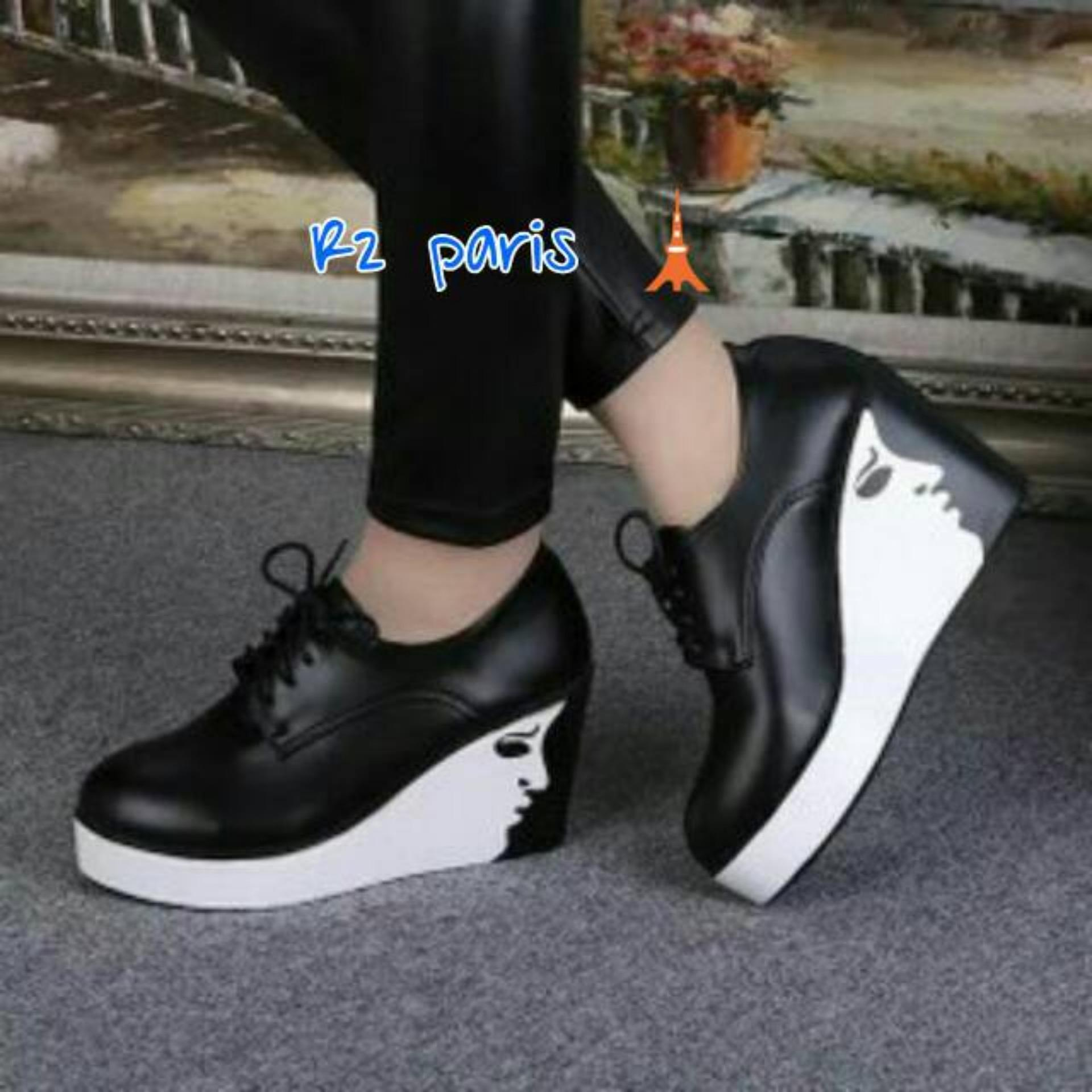Beli sekarang R2Paris Wedges Boots Face Tali Hitam terbaik murah - Hanya Rp109.320