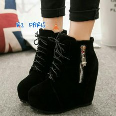 R2Paris Wedges Boots Marshela Hitam