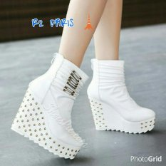 R2Paris Wedges Boots Ricros Putih