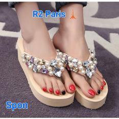 R2Paris Wedges Sandal Mogetan - Peach