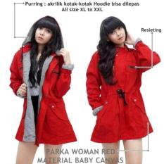 Harga Raina Shope Store Jaket Parka Wanita Canvas Bolak Balik Merah Origin