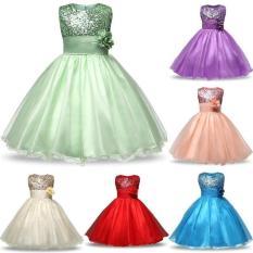 Pelangi Situs 10 Warna Seksi Bunga Gadis Baju Anak Kostum Bayi Gadis Pakaian Anak Renda Rok Putri Pernikahan Pesta -Pink-140cm-Internasional