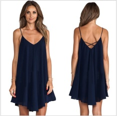 Situs Review Rainbow Site 2017 Summer Women S Fashion S*xy Off Shoulder Solid Color Tank Top Female Navy Blue Chiffon Backless Dress Navy Blue Women Size S Intl