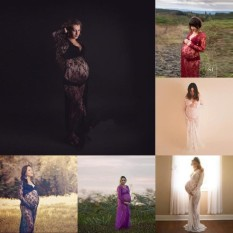 Pelangi Situs 5 Warna Baru Modis Tambahan Panjang Renda Wanita Fotografi Gaun Le Pasangan Maternity Fotografi Alat Peraga Besar Maternity gaun Renda Maternity Gaun Mewah Shooting Foto Musim Panas Hamil Ukuran Besar (S-5XL) -Putih-Int: L-Internasional