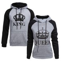 Pelangi Situs Baru Seksi Penjualan Gray Raja dan Ratu Cetak Lengan Panjang Hoodie Mantel Wanita Pria Beberapa Pakaian Kekasih Bertudung sweater-Hitam-int: wanita L-Internasional