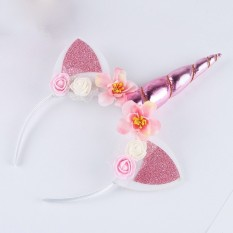 Unicorn Pelangi Horn Hairband Anak-anak Sifon Ikat Kepala Unicorn Glitter  Hairband Paskah untuk Pesta d0728355cc