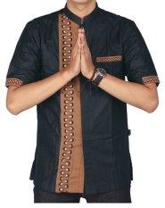 Raindoz Moslem Wear - Baju Koko Katun Lengan Pendek Pria - Hitam Brown