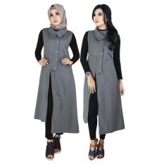 Raindoz Pakaian Muslim Wanita /Outer /Gamis RKO-021 Dark Grey