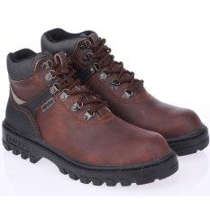 Raindoz Sepatu Safety Boots Kulit Proyek Industry Bengkel Pabrik Lapangan Kontraktor - Safety Boots Best Seller - Brown