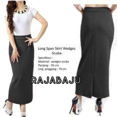 RAJA BAJU Rok Span Panjang Wanita Black Scuba Long Skirt
