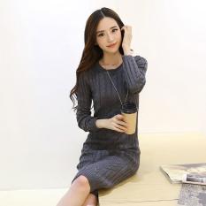 Rajutan Lengan Panjang Kue Pelintir Kemas Pinggul Elegan Gaun Sweter Gaun Abu Abu Gelap Baju Wanita Dress Wanita Gaun Wanita Diskon Tiongkok