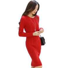 Beli Rajutan Lengan Panjang Kue Pelintir Kemas Pinggul Elegan Gaun Sweter Gaun Merah Baju Wanita Dress Wanita Gaun Wanita Baru