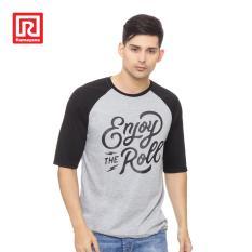 Ramayana - AR89 - Kaos T-shirt Raglan Enjoy Printed Abu/Hitam