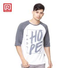 Ramayana - AR89 - Kaos T-shirt Raglan Hope Printed Putih/Abu