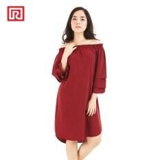 Jual Ramayana Jj Dress Midi Wool Peach Lengan Susun Maroon Branded