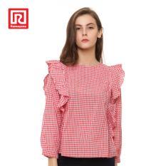 Jual Beli Ramayana Pink By Jj Blouse Big Ruffle Side Motif Plaid Merah Di Jawa Barat