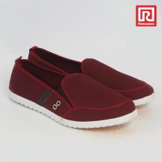 Ramayana - Worldstar - Sepatu slip on pria motif 1 garis kain kanvas warna merah maron dan coklat tua worldstar (07971703)