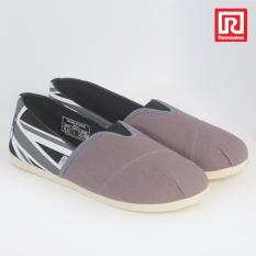 Ramayana - Worldstar - Sepatu slip on pria motif bendera  kain kanvas warna abu kombinasi hitam worldstar (07971363)