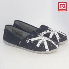 Ramayana - Worldstar - Sepatu slip on pria motif bendera kain kanvas warna biru laut kombinasi abu worldstar (07971496)
