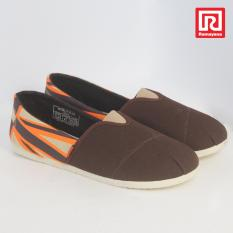 Ramayana - Worldstar - Sepatu slip on pria motif bendera  kain kanvas warna coklat tua kombinasi coklat muda worldstar (07971342)