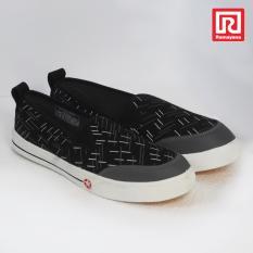 Ramayana - Worldstar - Sepatu slip on pria motif garis kain kanvas warna hitam dan abu worldstar (07971950)