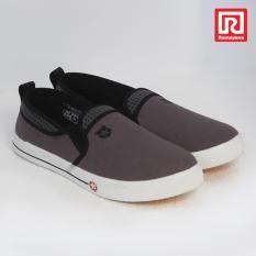 Ramayana - Worldstar - Sepatu slip on pria motif polos kain kanvas warna abu tua dan hitam worldstar (07971723)