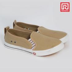 Ramayana - Worldstar - Sepatu slip on pria motif polos kain kanvas warna coklat muda worldstar (07972030)