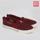 Beli Ramayana Worldstar Sepatu Slip On Pria Polos Kain Kanvas Merah Maroon Worldstar 07971688 Nyicil