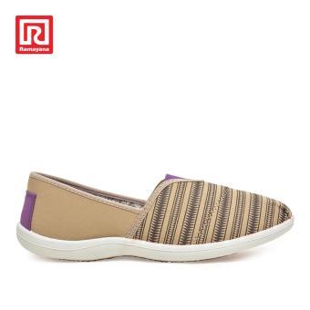 Ramayana - Worldstar - Sepatu Slip On Wanita Garis Tribal Cream Moka/Hitam