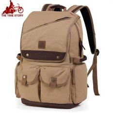 Beli Ransel Canvas Backpack Kanvas Tas Ransel Laptop Tas Kuliah Khaki Online Murah